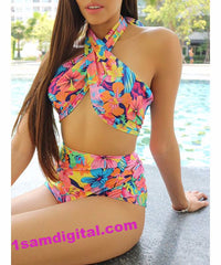 Plunging Neck Floral Print High-Waisted Women's Tropical Swimwear Suit - 1Sam Digital