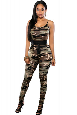 Camo Print Military Fitted Jumpsuit