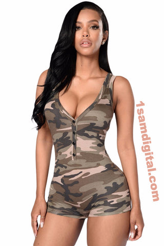 Camouflage Romper Shorts Bodysuit