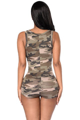Camouflage Romper Shorts Bodysuit - 1Sam Digital