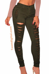 Skinny Jeans Denim Destroyed High-waist - 1Sam Digital