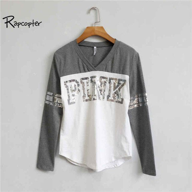 Rapcopter Sequined Letters Long Sleeve Sweatshirt Women Patchwork Pink Streetwear Hoodie 2018 Autumn Fashion Hoodies Pullovers - 1Sam Digital