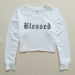 Blessed Letter Kpop Long Sleeve Cropped Hoodies Sweatshirt Women Cute Hooded Pullover Crop Tops Clothes Cut Out Cotton Shirt - 1Sam Digital