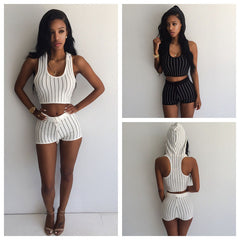 Hooded Stripe Top and Short Set Black or White - 1Sam Digital