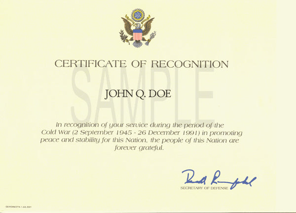 Cold War Recognition Certificate