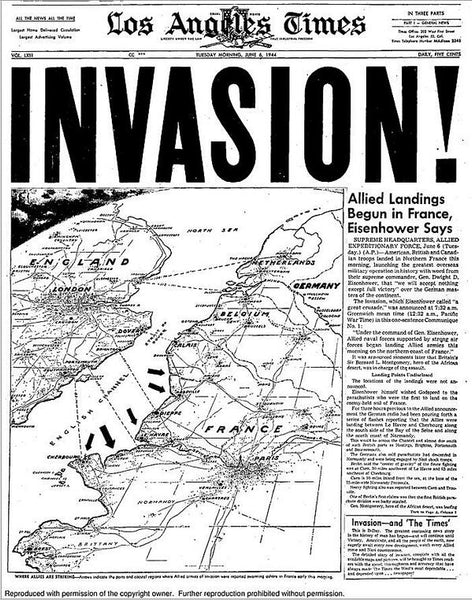 Los Angeles Times, June 6, 1944, D-Day Cover