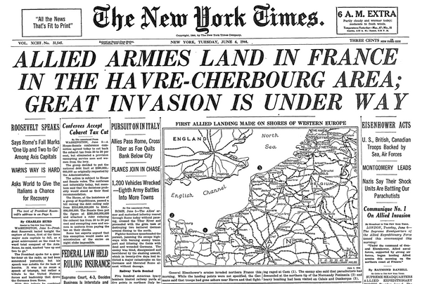 The New York Time Cover, June 6, 1944, D-Day Reporting