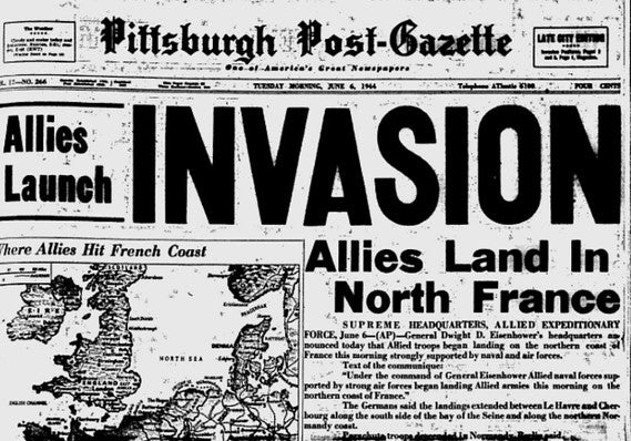 Pittsburgh post-Gazette, June 6 1944, D-Day headline
