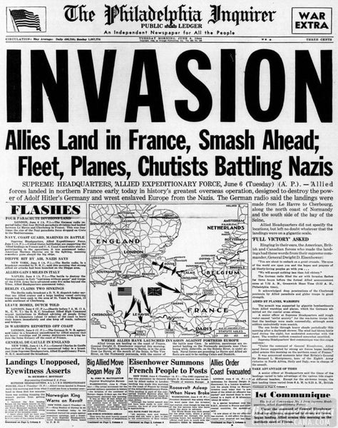 The Philadelphia Inquirer, June 6, 1944, D-Day Invasion Cover