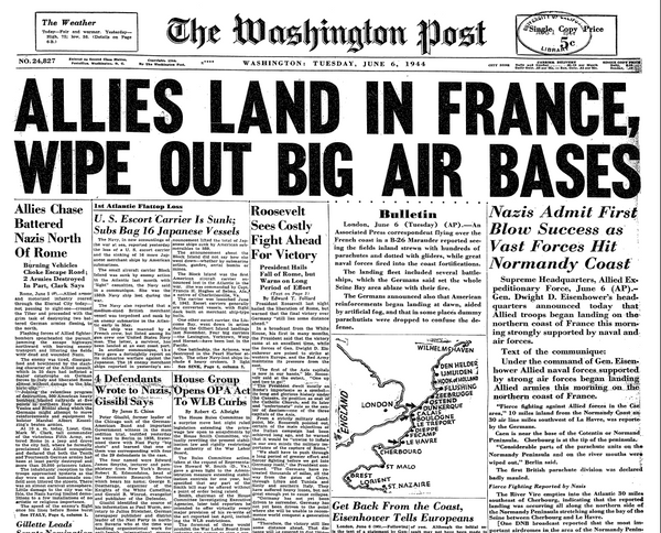 The Washington Post, June 6, 1944, D-Day Invasion Cover