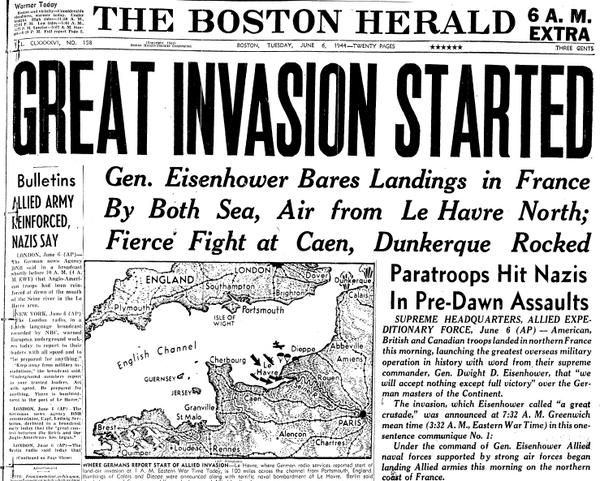 The Boston Herald, June 6, 1944, D-Day Invasion Headline