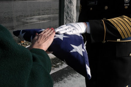 Veteran funeral services, veteran burial flag, burial flag shadow case.