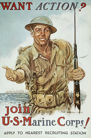 Want Action USMC Recruiting Poster by Pocket Square Heroes Blog