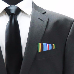 Armed Forces Expeditionary Medal Pocket Square, Wearing Military Ribbons in Suit Coat.
