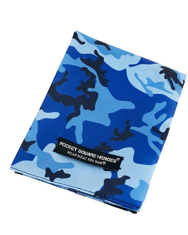 Blue Camouflage Pocket Square