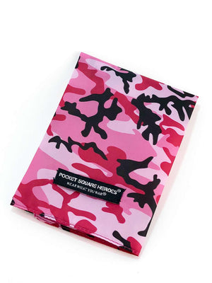 Camouflage Pocket Square, Veteran Made, Pink Pocket Square, Cancer awareness