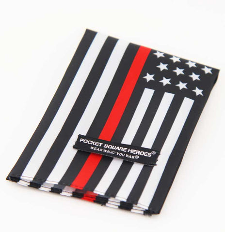 Red Line American Flag Fire Fighters Pocket Square