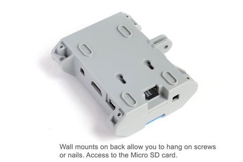 Wall mounts on back allow you to hang on screws or nails.  Access to SD card.