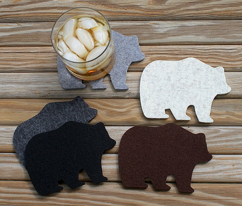 Bear Drink Coasters in 5mm Thick Virgin Merino Wool Felt