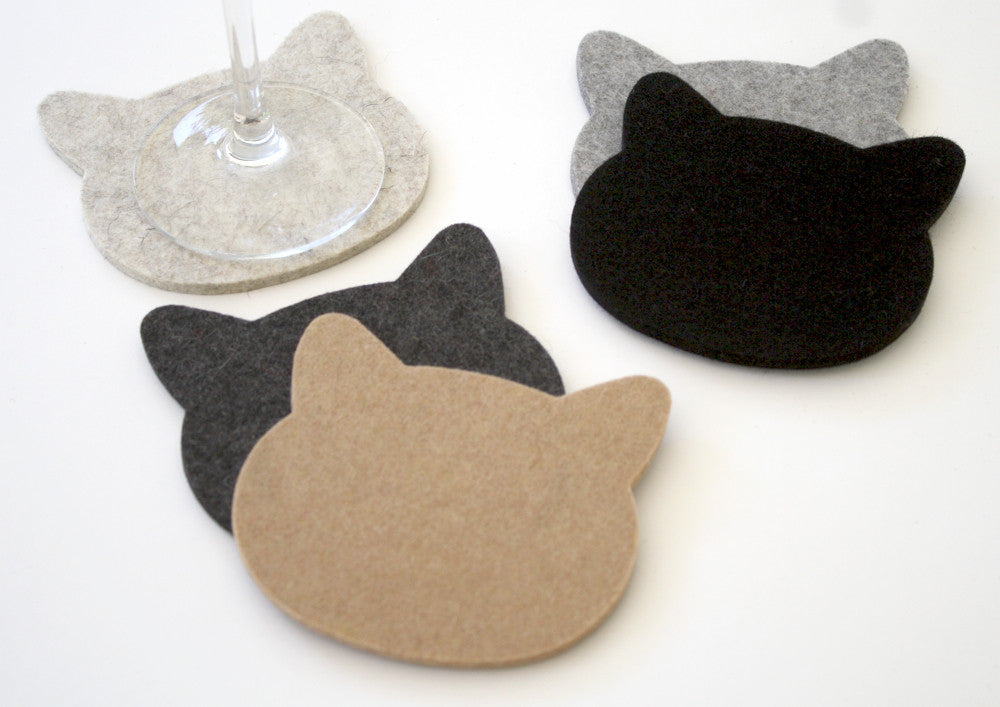 Cat Drink Coasters in 5mm Thick Virgin Merino Wool Felt