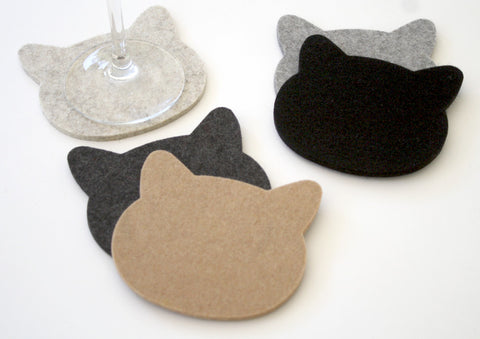 Cat Wool Felt Drink Coasters 5mm Thick