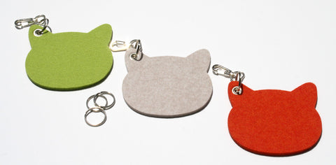 Cats! Key Fob in 5mm Thick Virgin Merino Wool Felt
