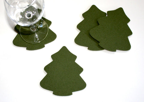 Evergreen Rustic Tree Drink Coasters in 5mm Thick Merino Wool Felt