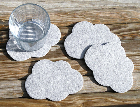 Cloud Wool Felt Drink Coasters 5mm Thick