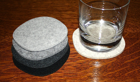 Cobblestones III Drink Coasters in 5mm Thick Virgin Merino Wool Felt
