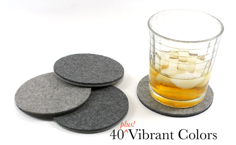 Round Wool Felt Coasters 5mm Thick-4""