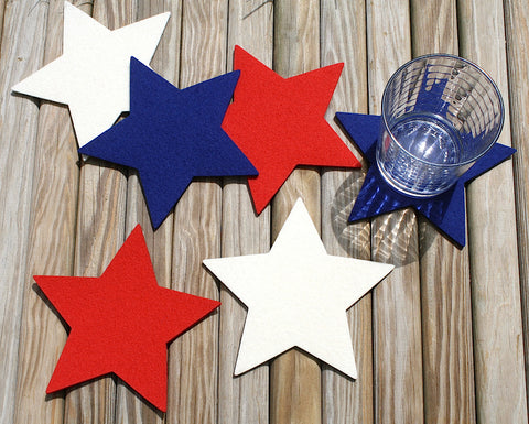 Fourth of July Star Drink Coasters in 5mm Thick Virgin Merino Wool Felt