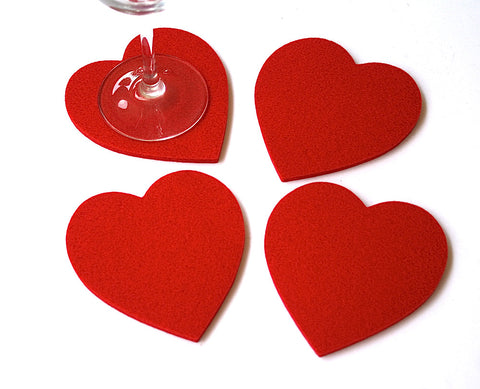 Heart Coasters in 5mm Thick Virgin Merino Wool Felt