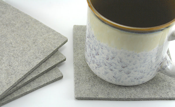 "Large 5"" Square Wool Felt Coasters 5mm Thick"