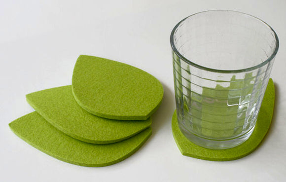 Leaf Wool Felt Coasters 5mm Thick