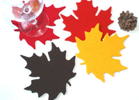 Thanksgiving Maple Leaf Drink Coasters in 5mm Thick Virgin Merino Wool Felt