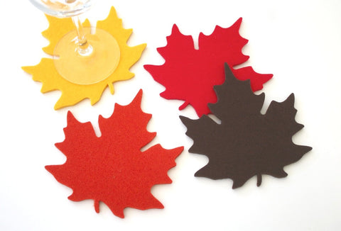 Maple Leaf Wool Felt Coasters 5mm Thick