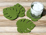 Palm Leaf Tropical Drink Coasters in 5mm Thick Virgin Merino Wool Felt
