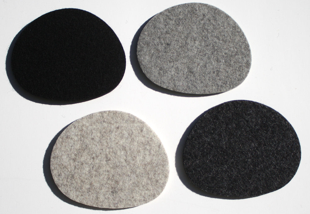 Pebbles Drink Coasters in 5mm Thick Virgin Merino Wool Felt