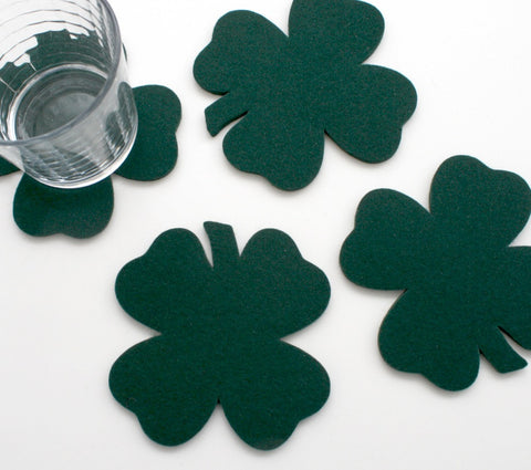 Shamrock Wool Felt Coasters 5mm Thick