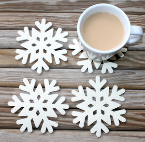 Snowflake Wool Felt Coasters Winter Holiday Christmas Coaster Set