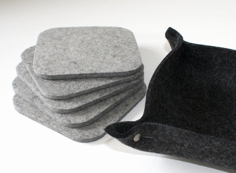 Square Merino Wool Felt Coasters with Holder