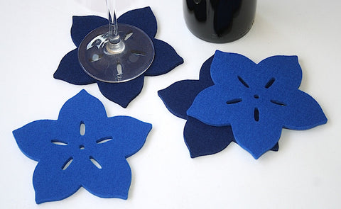 Tropical Flower Wool Felt Coasters 5mm Thick