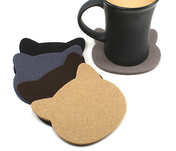 Cat Wool Felt Coasters 5mm Thick