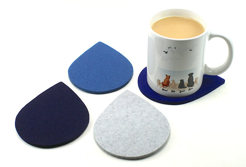 Raindrop Wool Felt Coasters 5mm Thick