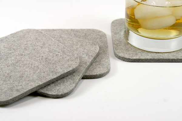 Traditional Square Wool Felt Coasters 5mm Thick