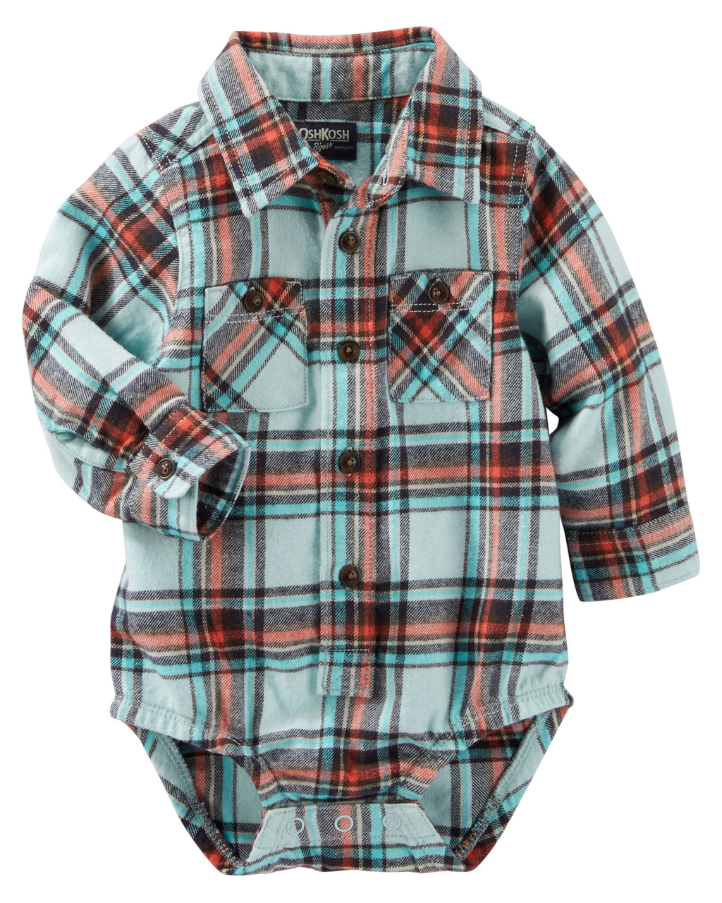 Camisa Body OSHKOSH 2-Pocket Plaid Button-Front Bodysuit