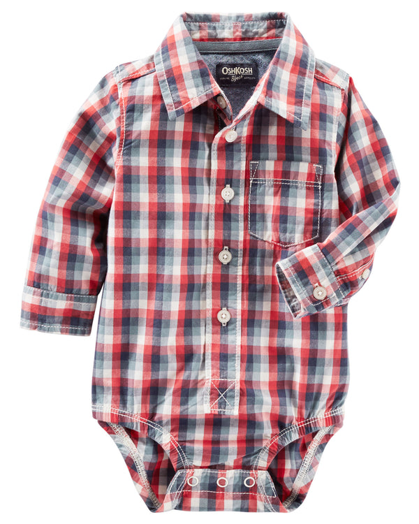 Camisa Body OSHKOSH Plaid Button-Front Bodysuit