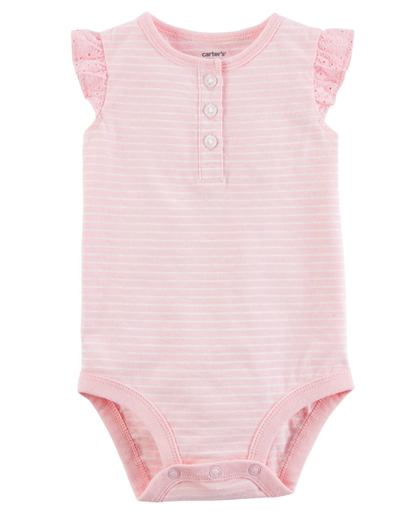 Body CARTERS Striped Flutter-Sleeve Collectible Bodysuit
