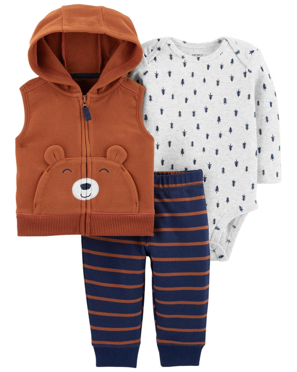 Conjunto CARTERS 3-Piece Bear Little Vest Set