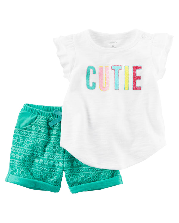 Conjunto CARTERS 2-Piece Glitter Tee & Lace Short Set